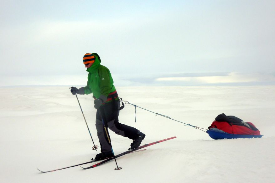 Felicity Aston tunes up for her cross-Antarctica solo journey in Iceland. She'll be pulling 187 pounds of gear on a sledge that'll include freeze-dried food, fuel and a camp stove for melting snow. She'll also have a solar recharger and two MP3 players. (Kaspersky One Trans-Antartic Expedition via Associated Press)