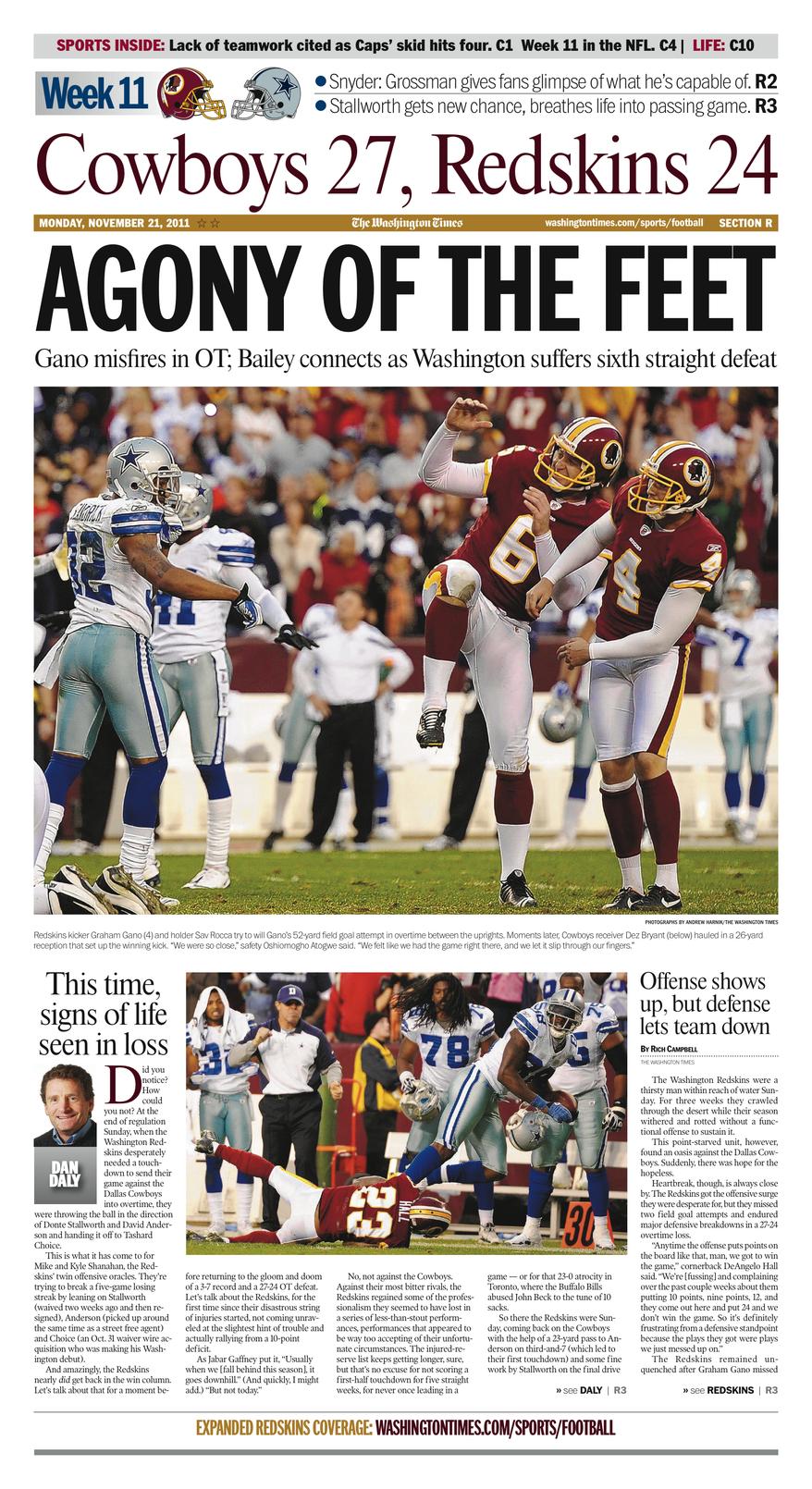 Week 11: Cowboys 27, Redskins 24 (OT)