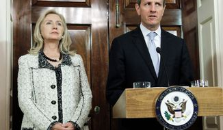 "Secretary of State Hillary Rodham Clinton and Treasury Secretary Timothy F. Geithner announced  new sanctions against Iran on Monday for the purpose of pressuring Tehran to halt its suspected nuclear weapons program. The Treasury Department also named  the Central Bank of Iran  as a primary money-laundering ""concern."" (Associated Press)"