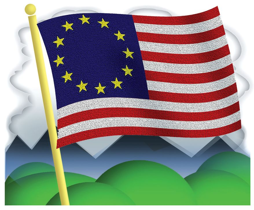 Illustration: Europe by Alexander Hunter for The Washington Times