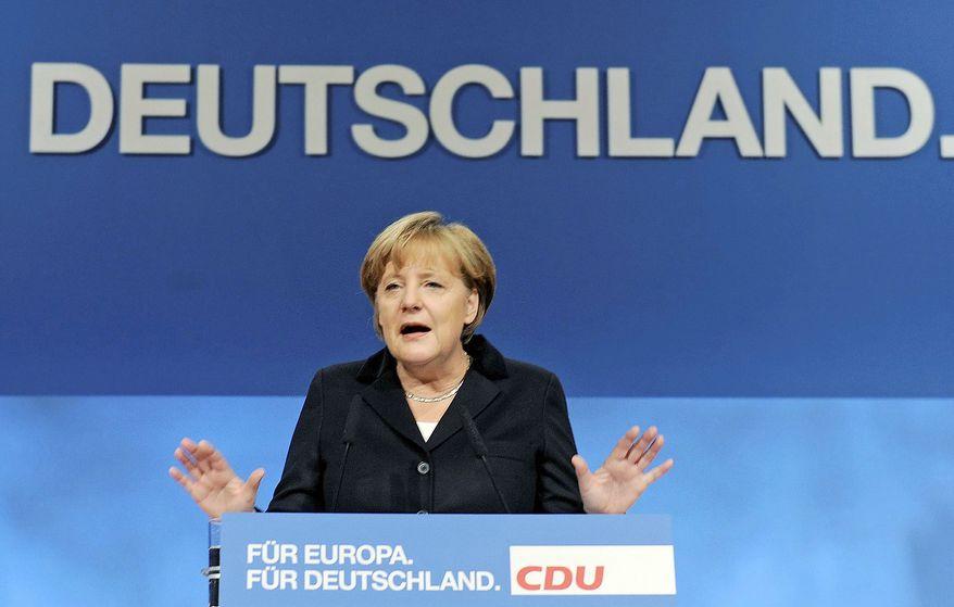 "German Chancellor Angela Merkel voiced strong opposition Tuesday to talk of ""eurobonds"" as a way to solve the European debt crisis."