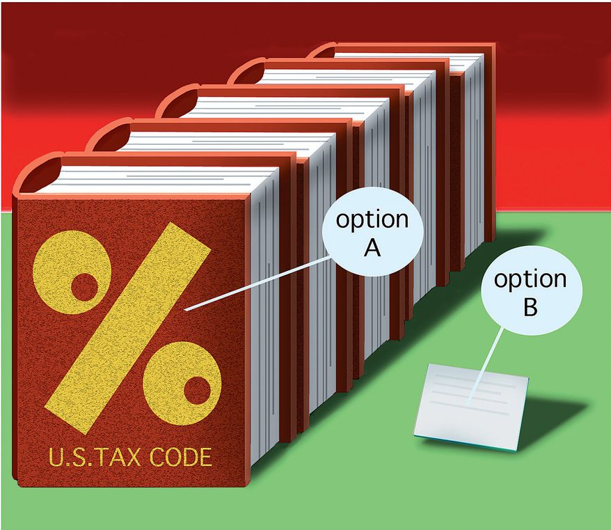 Illustration: Tax option by Alexander Hunter for The Washington Times
