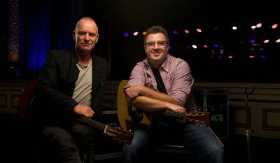 "Musicians Sting (left) and Vince Gill have collaborated on a Country Music Television ""Crossroads"" special that will air at 8 p.m. on Thanksgiving. (Associated Press)"