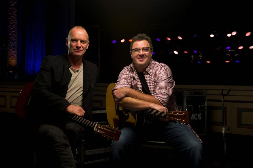 """Musicians Sting (left) and Vince Gill have collaborated on a Country Music Television """"Crossroads"""" special that will air at 8 p.m. on Thanksgiving. (Associated Press)"""