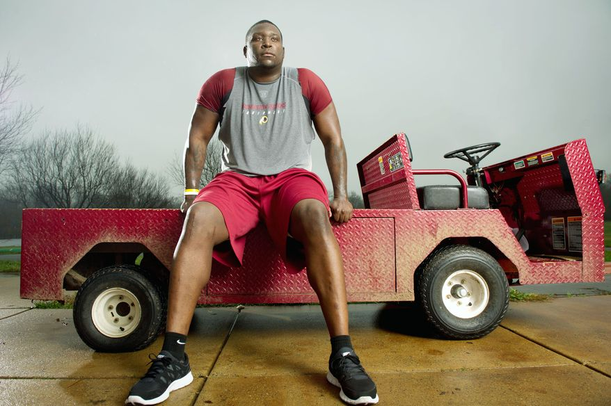 Washington Redskins rookie defensive end Jarvis Jenkins continues his rehab after tearing his ACL in the preseason at Redskins Park in Ashburn, Va., Tuesday, Nov. 22, 2011. (Andrew Harnik/The Washington Times)