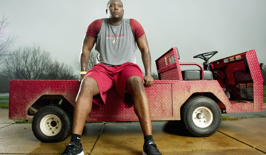 Washington Redskins rookie defensive end Jarvis Jenkins had high hopes for his first NFL season after being drafted 41st overall out of Clemson in April. A torn ACL suffered during the preseason changed his focus from learning the playbook to learning rehabilitation procedures. (Andrew Harnik/The Washington Times)