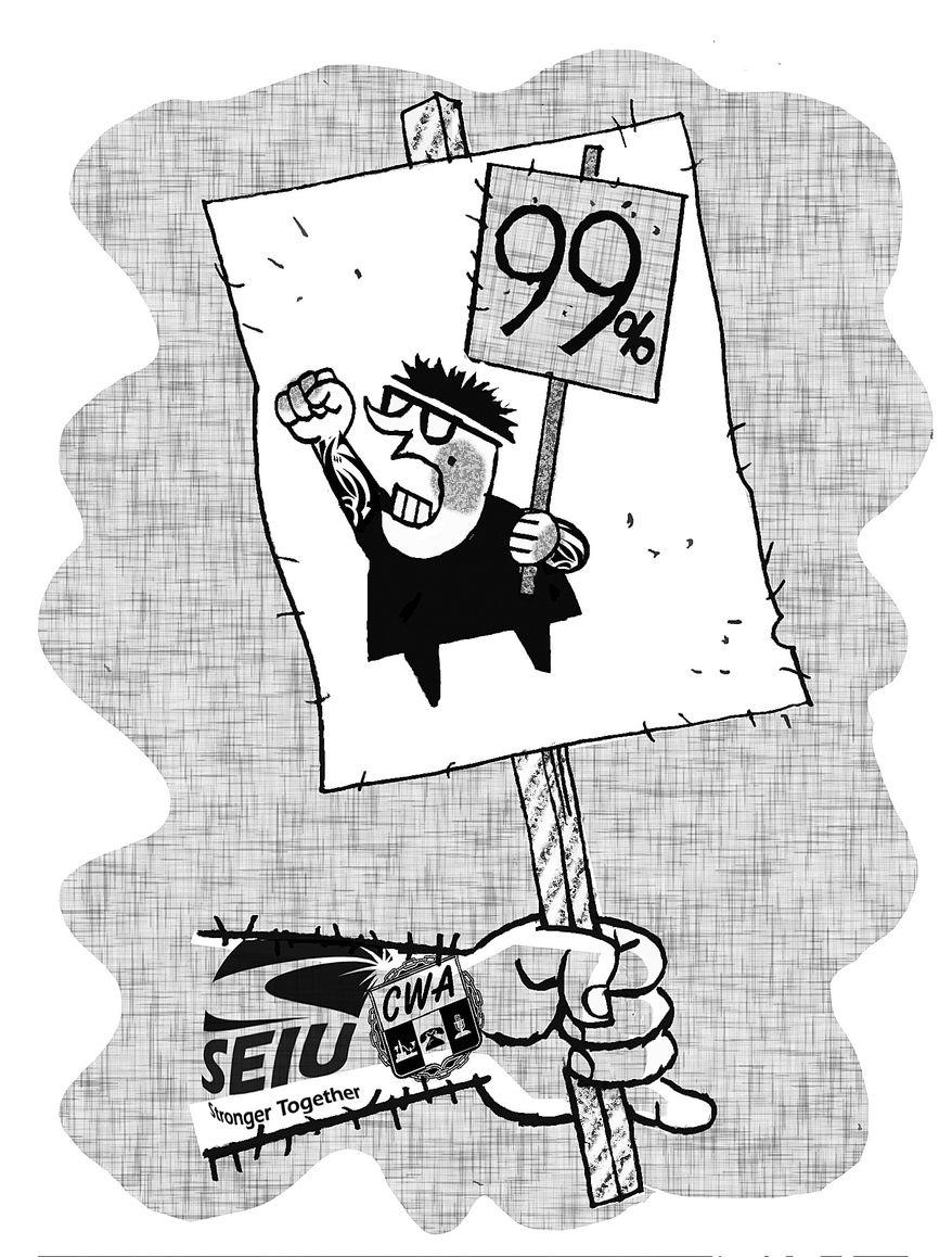 Illustration: SEIU sign by Alexander Hunter for The Washington Times