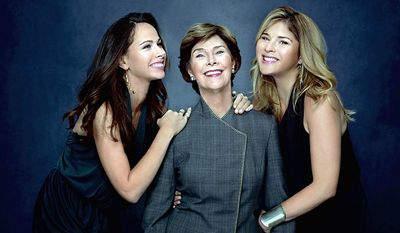 "Former first lady Laura Bush (center) and twin daughters Barbara Bush (left) and Jenna Bush Hager have been named to Glamour magazine's 2011 Women of the Year list for their advocacy for ""women, children and the world's neediest."" (Photo provided by Glamour)"