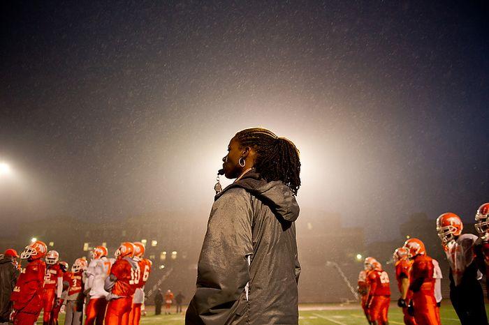 Coolidge High School Football Coach Natalie Randolph gets her team ready for the Turkey Bowl, Washington, DC, Monday, November 21, 2011. (Andrew Harnik/The Washington Times)