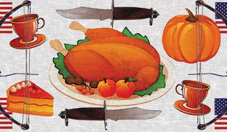 Illustration: Thanksgiving by Alexander Hunter for The Washington Times