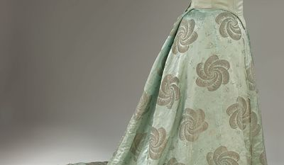 Teddy Roosevelt's second wife, Edith, wore a robin's-egg blue silk gown with a design of plumes and birds woven in gold thread for the 1905 inaugural. She was the first first lady to hire a social secretary. (Photo courtesy Smithsonial National Museum of American History)