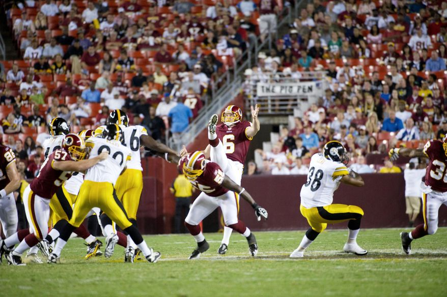 Washington Redskins punter Sav Rocca, signed as a free agent in the offseason, has put 18 punts inside the opponents' 20-yard line, tied for most in the NFL. (Rod Lamkey Jr./The Washington Times)