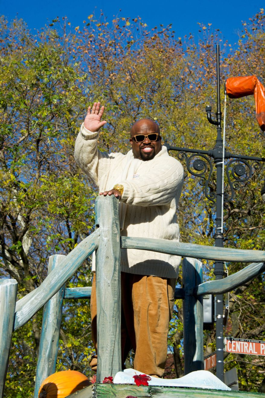 Cee Lo Green rides a float in the Macy's Thanksgiving Day Parade. (AP Photo/Charles Sykes)