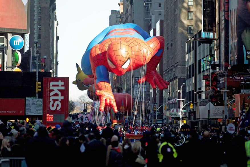 The Spiderman float is seen during the Macy's Thanksgiving Day Parade in Times Square. (AP Photo/Andrew Burton)