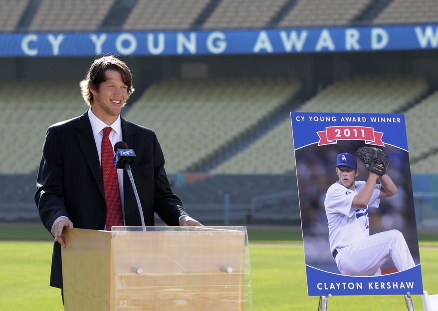 Los Angeles Dodgers starting pitcher Clayton Kershaw speaks during a baseball news conference at Dodger Stadium in Los Angeles, Thursday, Nov. 17, 2011. Kershaw won the National League Cy Young Award on Thursday. (AP Photo/Jae C. Hong)
