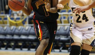 Maryland's Laurin Mincy had 15 points and two assists in the Terps' 84-52 win over Florida International University. (AP Photo/Hans Deryk)