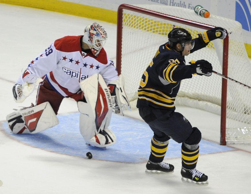 Buffalo Sabres' Jochen Hecht celebrates a third-period goal in Buffalo, N.Y., Saturday, Nov. 26, 2011. The Sabres won 5-1. (AP Photo/Gary Wiepert)
