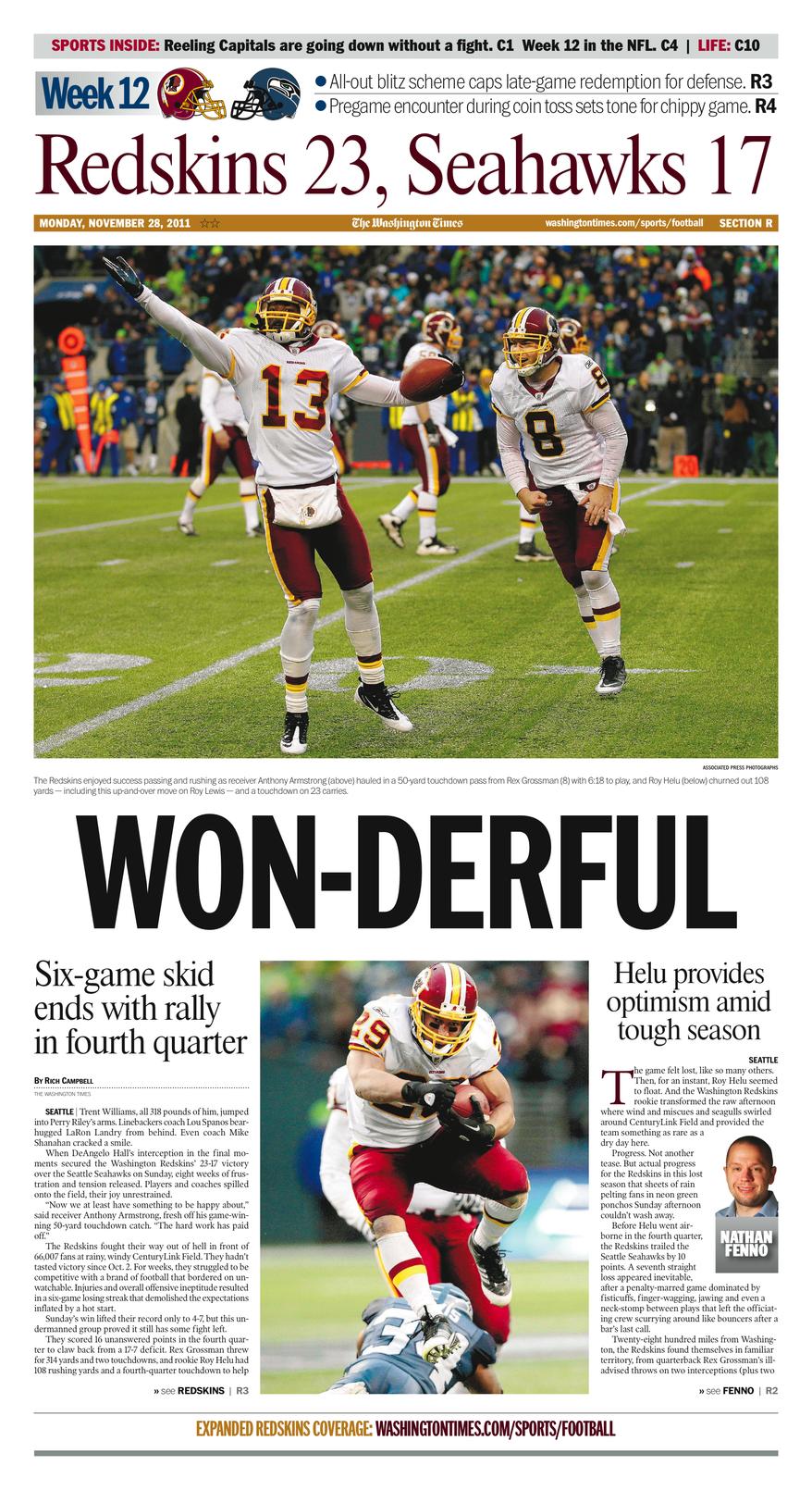Week 12: Redskins 23, Seahawks 17