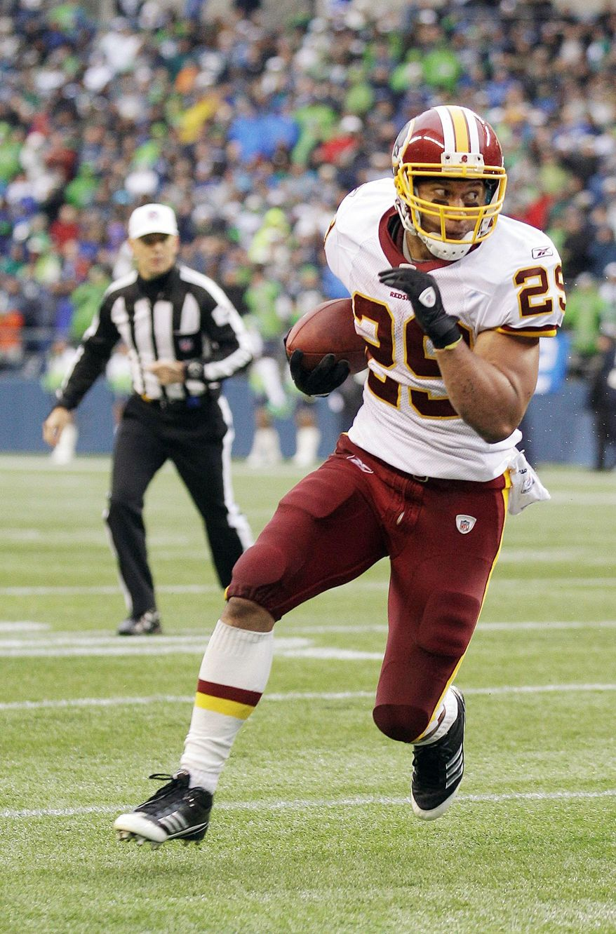 Redskins running back Roy Helu stung Seattle's eighth-ranked run defense for 103 yards and a touchdown on 23 carries. (Associated Press)