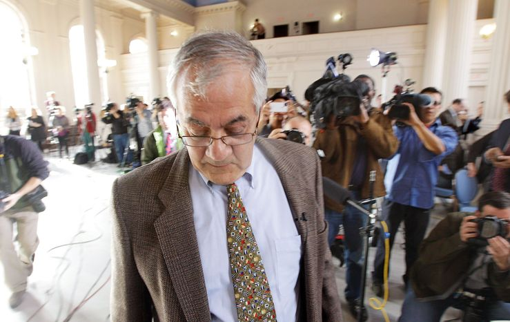 Rep. Barney Frank arrives Monday at Newton, Mass., City Hall, where he announced he would not seek re-election in 2012. The Democrat was first elected in 1980. (Associated Press)