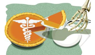 Illustration: Obamacare rationing by Alexander Hunter for The Washington Times