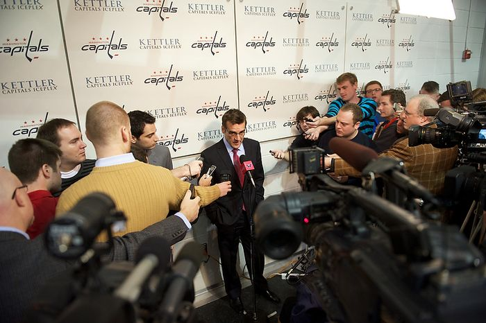 Washington Capitals General Manager George McPhee offers remarks and fields questions from reporters about the firing of Head Coach Bruce Boudreau and replacing him with former Capitals player Dale Hunter, at the Kettler Capitals Iceplex in Arlington, Va, Monday, November 28, 2011. (Rod Lamkey Jr/ The Washington Times)