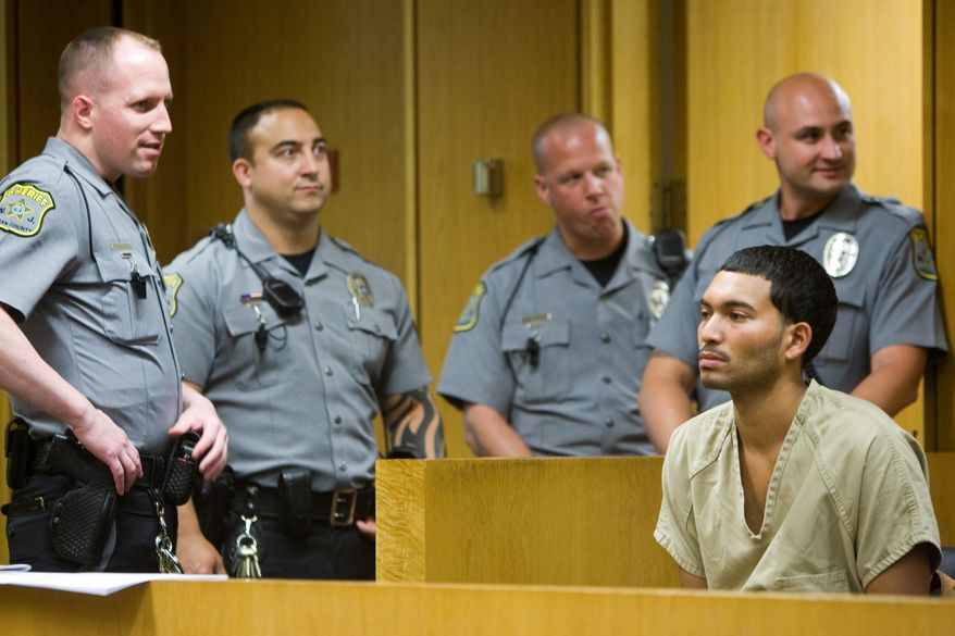 FILE - In this July 27, 2009 file photo, Daniel Bark, right, is seen at the Ocean County Justice Complex in Toms River, N.J. Bark, of Toms River, is accused of killing former American Idol contestant Alexis Cohen in a hit-and-run in Seaside Heights, N.J. Bark pleaded guilty to eluding police and drunken driving Monday, Nov. 28, 2011, under a plea agreement. (AP Photo/The Star-Ledger, Andrew Mills)