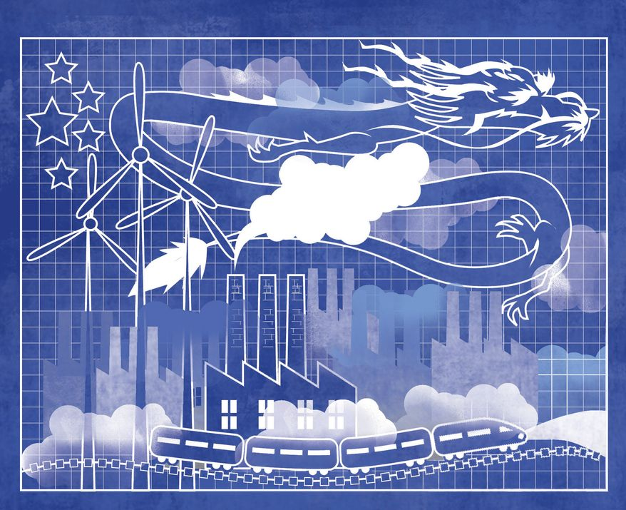 Illustration: China's blueprint by Linas Garsys for The Washington Times