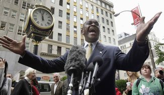 ** FILE ** In this Oct. 3, 2011, file photo Republican presidential candidate Herman Cain stops to address the media as he arrives for a meeting with developer Donald Trump in New York. (AP Photo/Richard Drew, File)