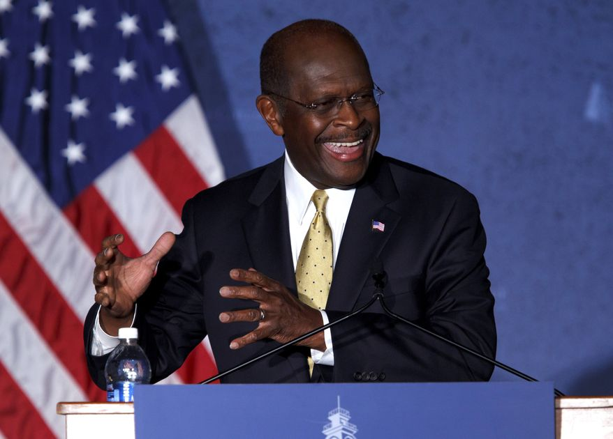Republican presidential candidate Herman Cain speaks at Hillsdale College in Hillsdale, Mich., Tuesday, Nov. 29, 2011. (AP Photo/Rick Osentoski)