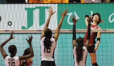 Japan Tobacco's ties to professional volleyball teams and the ongoing World Cup tournament for women have prompted local and international opposition and a call to stop the association. (Christopher Johnson/Special to The Washington Times)