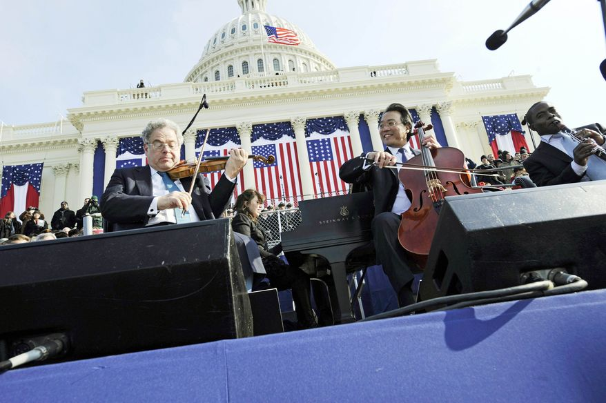 ASSOCIATED PRESS  Cellist Yo-Yo Ma (right) appears with violinist Itzhak Perlman at the Capitol during President Obama's inauguration in January 2009. Because of freezing outdoor temperatures, television viewers heard prerecorded music from Mr. Ma's string quartet.