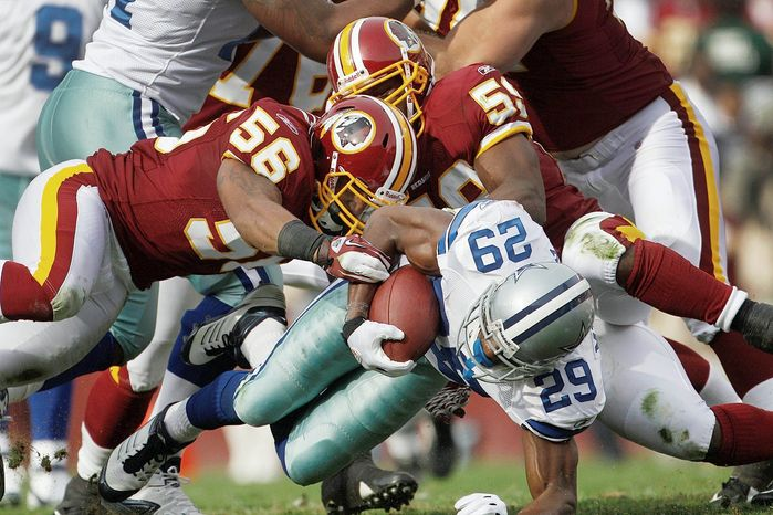 Washington Redskins linebacker Perry Riley (No. 56) didn't get his first start until his 25th game with the team. (Associated Press)