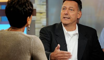 "Gary Giordano, right, of Gaithersburg, who was detained for four months after the presumed death of his traveling companion, Robyn Gardner, in Aruba, is interviewed by Robin Roberts on ABC television's ""Good Morning America"" in New York, Thursday, Dec. 1, 2011.(AP Photo/Ida Mae Astute, ABC)"
