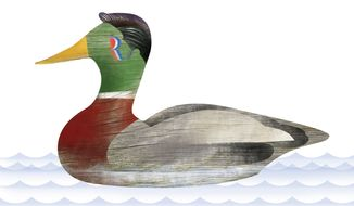 Illustration: Romney decoy by Linas Garsys for The Washington Times