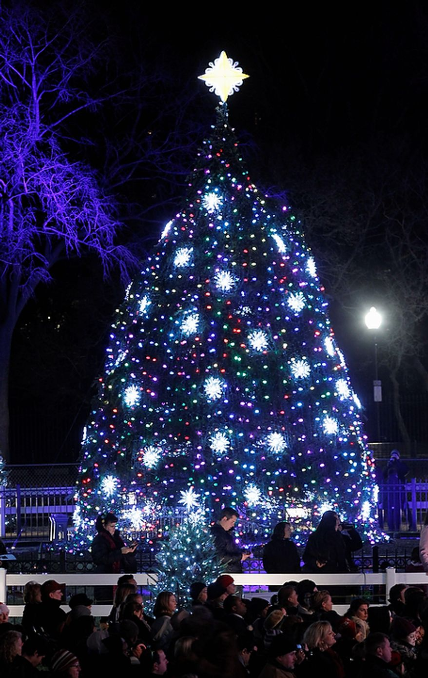 The National Christmas Tree is pictured after it was lit by President Barack Obama, first lady Michelle Obama, and daughters Malia and Sasha Obama at the Ellipse across from the White House in Washington, Thursday, Dec., 1, 2011. (AP Photo/Pablo Martinez Monsivais)