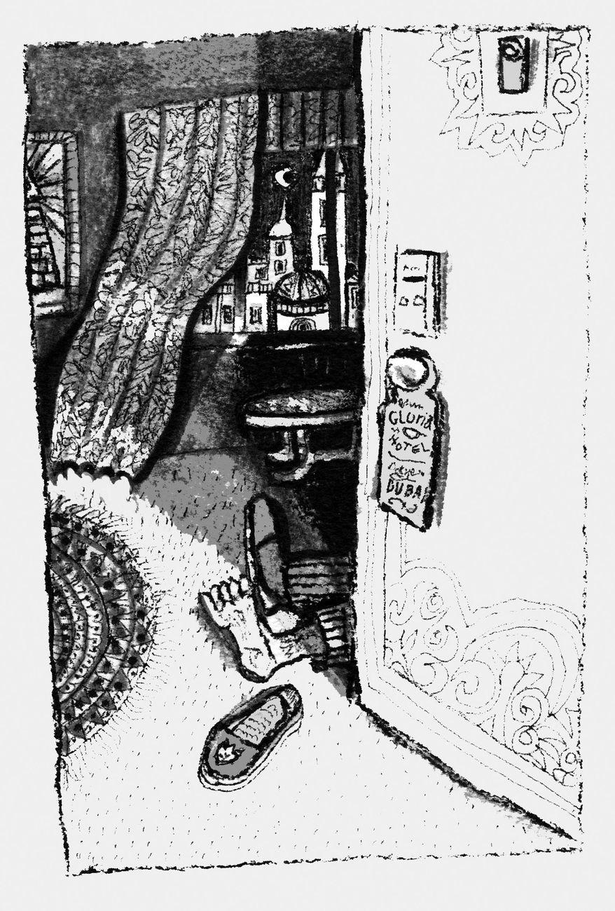 Illustration: Dubai death by John Camejo for The Washington Times