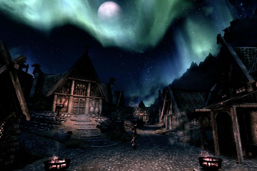 Beautiful backdrops are routine in the video game The Elder Scrolls V: Skyrim.