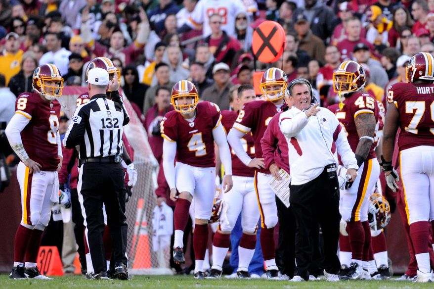 A short kickoff from the Redskins' Graham Gano (4) helped set up the Jets with good field position on what turned out to be the game's decisive drive Sunday. (Preston Keres/Special to The Washington Times)