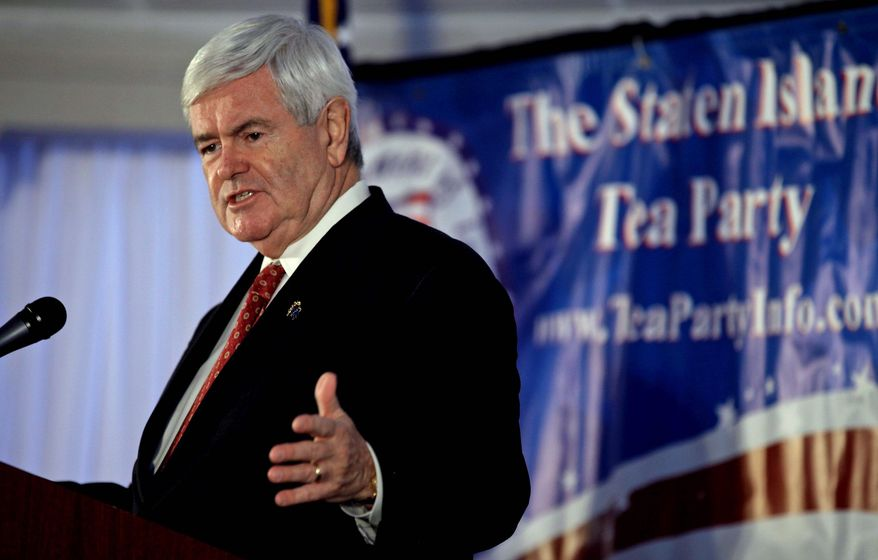 GOP presidential hopeful Newt Gingrich, now the front-runner, addresses a tea party rally Saturday in Staten Island, N.Y. (Associated Press)
