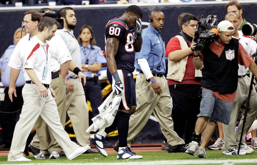Already down to their third quarterback, the Houston Texans are again dealing with the loss of Andre Johnson. The sta rreceiver already missed six games earlier this season after hamstring surgery. On Sunday, he left after hurting the hamstring again. (Associated Press)