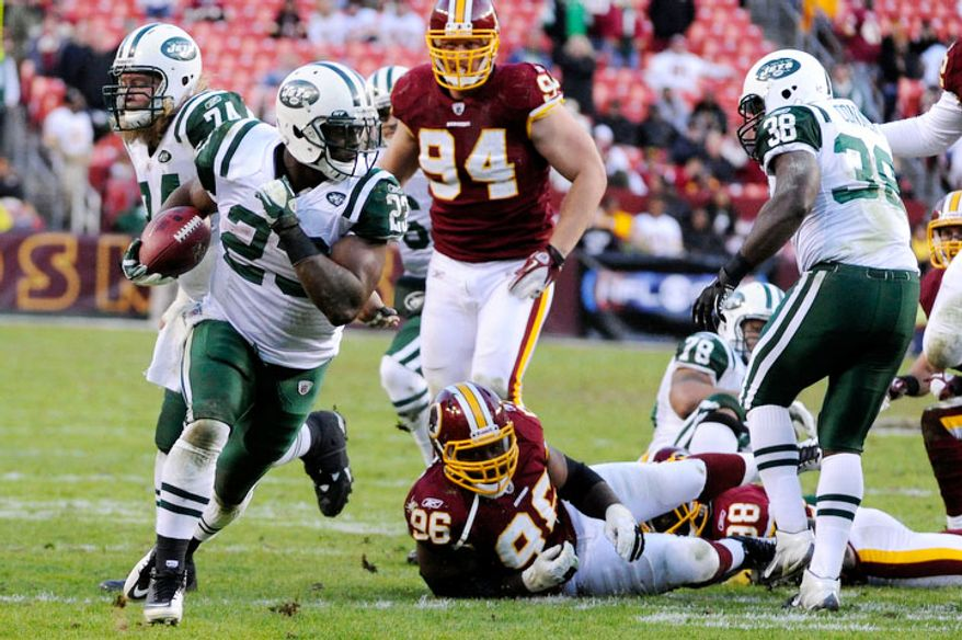 New York Jets running back Shonn Greene (23) breaks for a 23-yard touchdown to give his team a 34-19 lead. (Preston Keres/For The Washington Times)