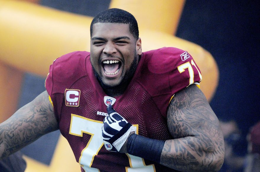 Left tackle Trent Williams is considered a building block for the Redskins' offense, but a drug suspension has ended his season. (Preston Keres/Special to The Washington Times)