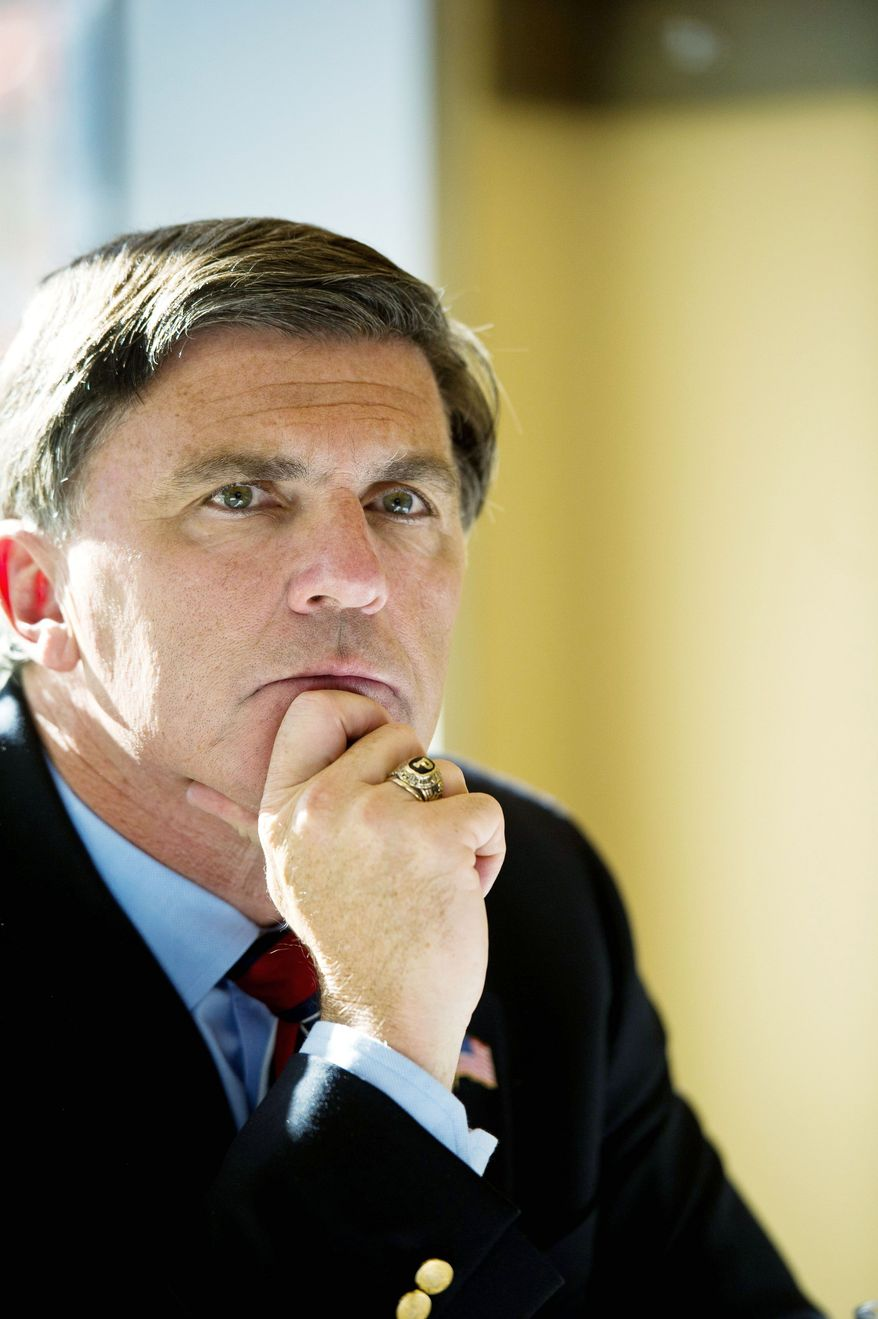 """Former Maryland Governor Robert Ehrlich talks about his new book """"Turn That Car Around"""" and fields questions about the political climate during an interview at Johnny's on the Half-Shell in Washington, DC, Friday, December 2, 2011. (Rod Lamkey Jr/ The Washington Times)"""
