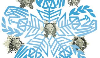 Illustration: Holiday Money by Linas Garsys for The Washington Times
