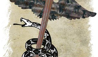 Illustration: Health care snake by Greg Groesch for The Washington Times