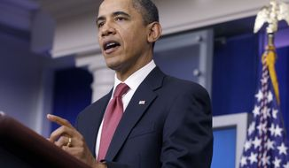President Obama urges Republican lawmakers to extend the payroll-tax cut in remarks to reporters in the James Brady Press Briefing Room at the White House in Washington on Monday, Dec. 5, 2011. (AP Photo/Charles Dharapak)