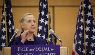 U.S. Secretary of State Hillary Rodham Clinton during her speech on human rights issues in Geneva, Switzerland, Tuesday, Dec 6, 2011. Making an unusually strong statement in defense of gay rights, Clinton says they are equal to women's rights and racial equality and should be universal human rights. (AP Photo/Anja Niedringhaus)