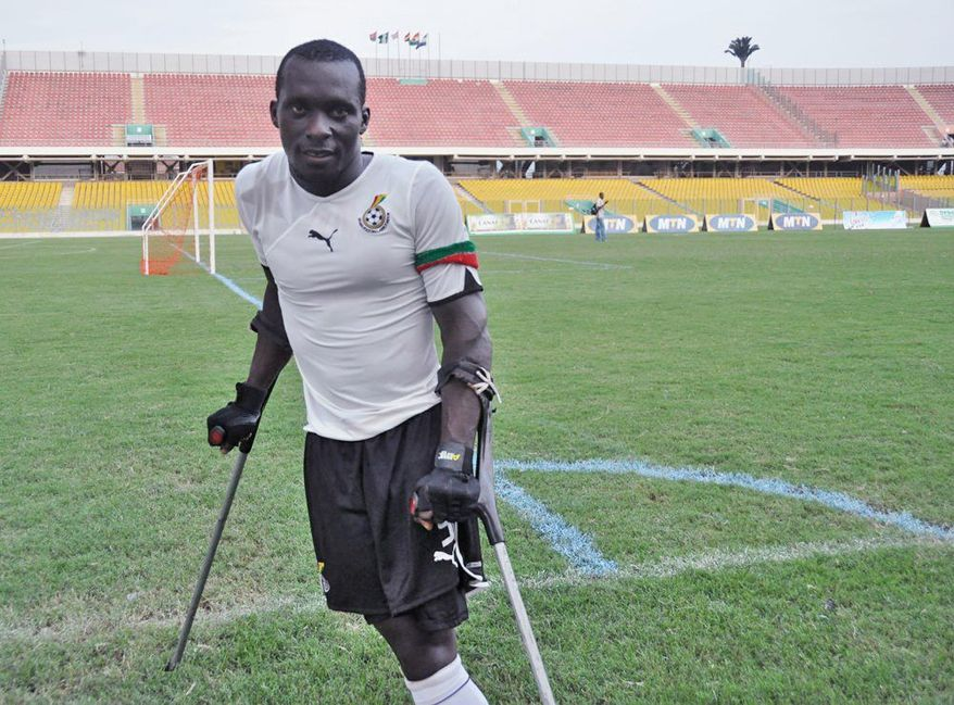 Richard Arthur Opentil, captain of Black Challenge, Ghana's amputee football team, after defeating Niger in the 2011 Cup of Africa Nations for Amputee Football (CANAF). (Clair MacDougall/Special to The Washington Times)