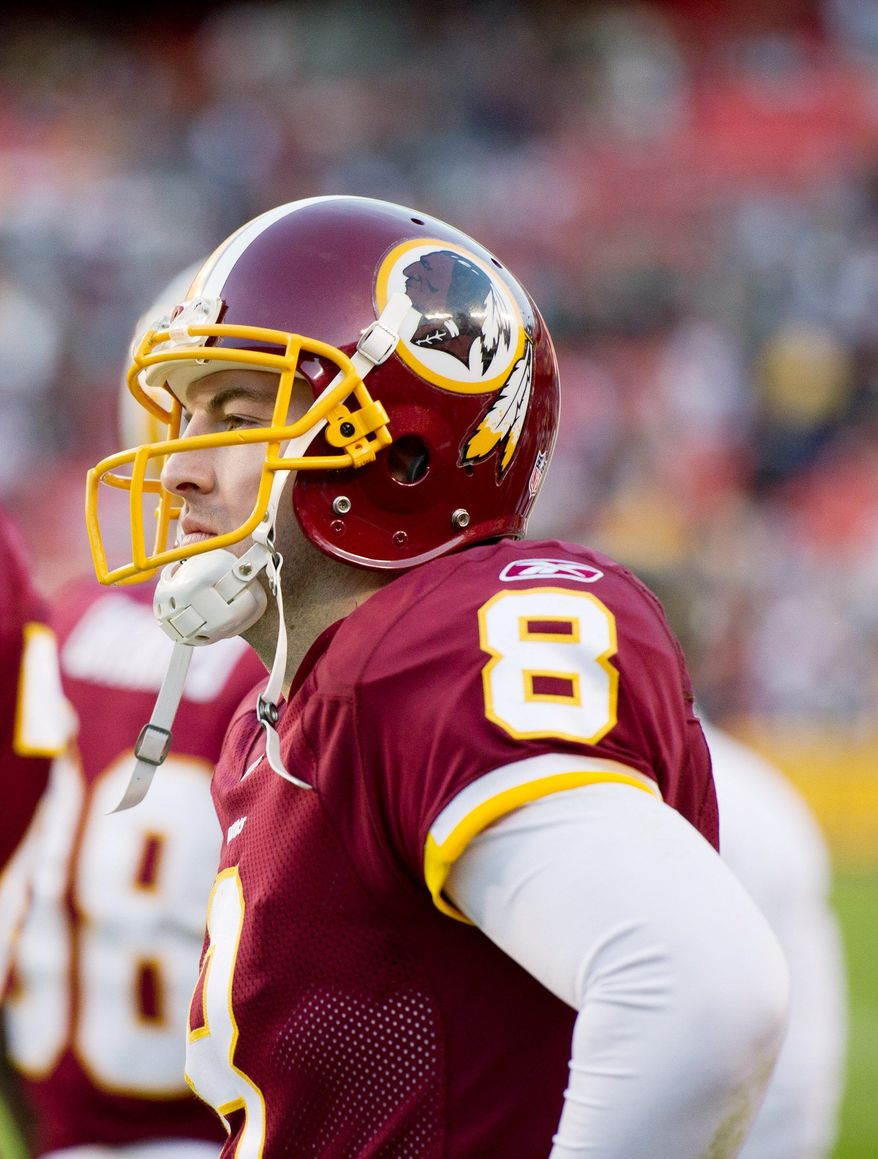 """""""We've got to do a real good job of moving the chains and having some long scoring drives,"""" quarterback Rex Grossman said of the Redskins' matchup with New England on Sunday. (Andrew Harnik/The Washington Times)"""